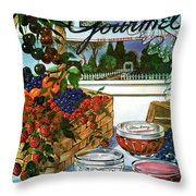 A Gourmet Cover Of A Fruit Basket Throw Pillow