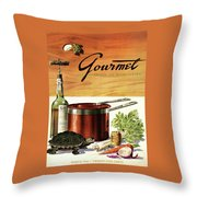 A Gourmet Cover Of Turtle Soup Ingredients Throw Pillow