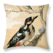 A Great Spotted Woodpecked And Another Small Bird Throw Pillow