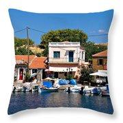 A Greek Island Harbor Throw Pillow