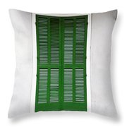 A Green Door In New Orleans Throw Pillow