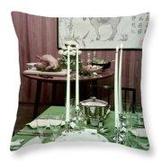 A Green Table Throw Pillow