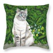 A Grey Cat At A Garden Throw Pillow