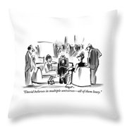 A Grouchy Man And His Wife Speak To Another Throw Pillow