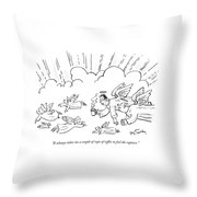 A Group Of Angels Fly In The Clouds.  One Throw Pillow