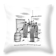 A Group Of Gangsters Stand With Machine Guns Throw Pillow