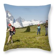 A Group Of Hikers In The Selkirk Throw Pillow