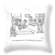 A Group Of Men And Women Are Sitting Throw Pillow