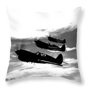 A Group Of P-40 Warhawks Fly Throw Pillow