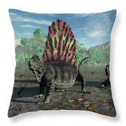 A Group Of Sail-backed Dimetrodons Throw Pillow