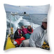A Group Of Young Women By Guided Throw Pillow