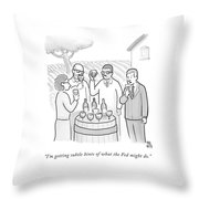A Group Sample Wine At A Wine Tasting Vineyard Throw Pillow by Paul Noth