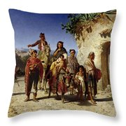 A Gypsy Family On The Road, C.1861 Oil On Canvas Throw Pillow