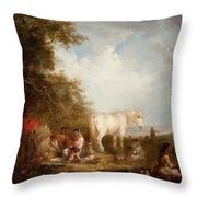 A Gypsy Scene Throw Pillow
