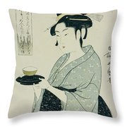 A Half Length Portrait Of Naniwaya Okita Throw Pillow