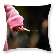 A Hand Holding A Cigarette Throw Pillow