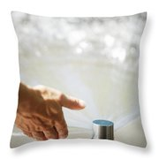 A Hand In A Playground Sprinkler Throw Pillow