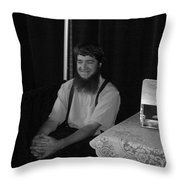 A Happy Amish Guy Throw Pillow