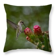 A Happy Little Hummer  Throw Pillow
