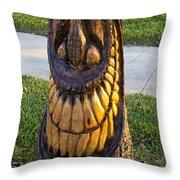 A Happy Tiki From A Palm Tree Stump Throw Pillow