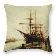 A Harbor Throw Pillow by Eugene Galien-Laloue