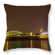 A Harbor Nightscape Throw Pillow