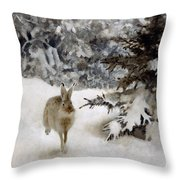 A Hare In The Snow Throw Pillow