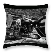 A Harley Davidson And The Virgin Mary Throw Pillow