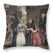 A Harlots Progress, Plate I Throw Pillow by William Hogarth