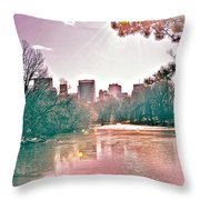 A Haze Over Central Park Throw Pillow