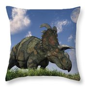 A Herd Of Albertaceratops Grazing Throw Pillow