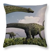 A Herd Of Diplodocus Sauropod Dinosaurs Throw Pillow