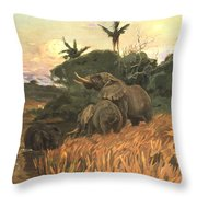 A Herd Of Elephants By Moonlight Throw Pillow