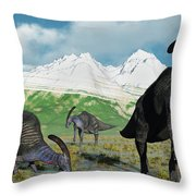 A Herd Of Parasaurolophus Dinosaurs Throw Pillow
