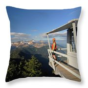 A Hiker Enjoys The View Throw Pillow