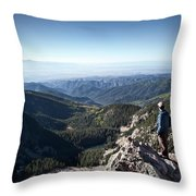 A Hiker Looks At The View Throw Pillow