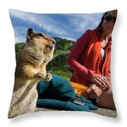 A Hiker Makes Friends With The Local Throw Pillow
