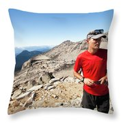 A Hiker Uses His Smartphone To Capture Throw Pillow