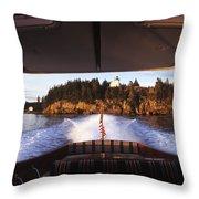 A Hinckley Picnic Boat Travels Throw Pillow