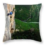 A Horizontal Image Of A Women In A Blue Throw Pillow