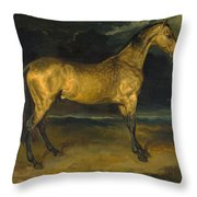 A Horse Frightened By Lightning Throw Pillow