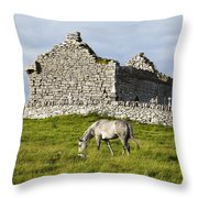 A Horse Grazing In A Field Throw Pillow
