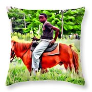 A Horse In Philly Throw Pillow