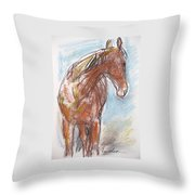 A Horse Looks Back Throw Pillow