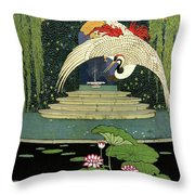 A House And Garden Cover A Bird Over A Pond Throw Pillow
