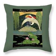 A House And Garden Cover A Bird Over A Pond Throw Pillow