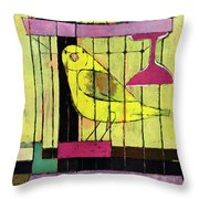 A House And Garden Cover Of A Bird In A Cage Throw Pillow