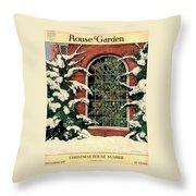 A House And Garden Cover Of A Christmas Tree Throw Pillow