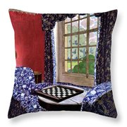 A House And Garden Cover Of A Country Living Room Throw Pillow