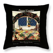 A House And Garden Cover Of A Four-poster Bed Throw Pillow